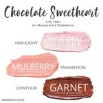 Chocolate Sweetheart ShadowSense Trio, pink opal shimmer shadowsense, mulberry shadowsense, garnet shadowsense