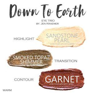 Down to Earth ShadowSense Trio, sandstone pearl shadowsense, smoked topaz shimmer shadowsense, garnet shadowsense