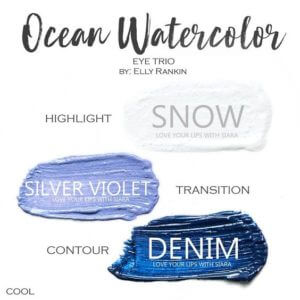 Ocean Watercolor Shadowsense eye trio, snow shadowsense, silver violet shadowsense, denim shadowsense