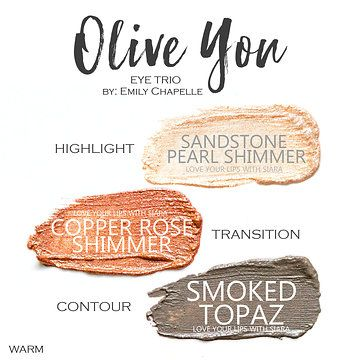 Sandstone Pearl Shimmer ShadowSense, Copper Rose Shimmer Shadowsense, smoked Topaz Shadowsense, Olive You Shadowsense trio