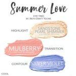 Summer Love shadowsense trio, sandstone pearl shimmer shadowsense, mulberry shadowsense, silver violet shadowsense