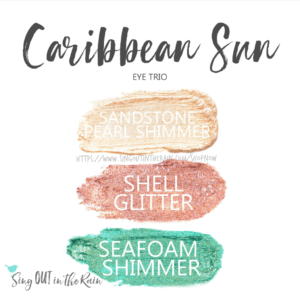Caribbean Sun ShadowSense eye trio, sandstone pearl shimmer shadowsense, shell glitter shadowsense, seafoam shimmer shadowsense