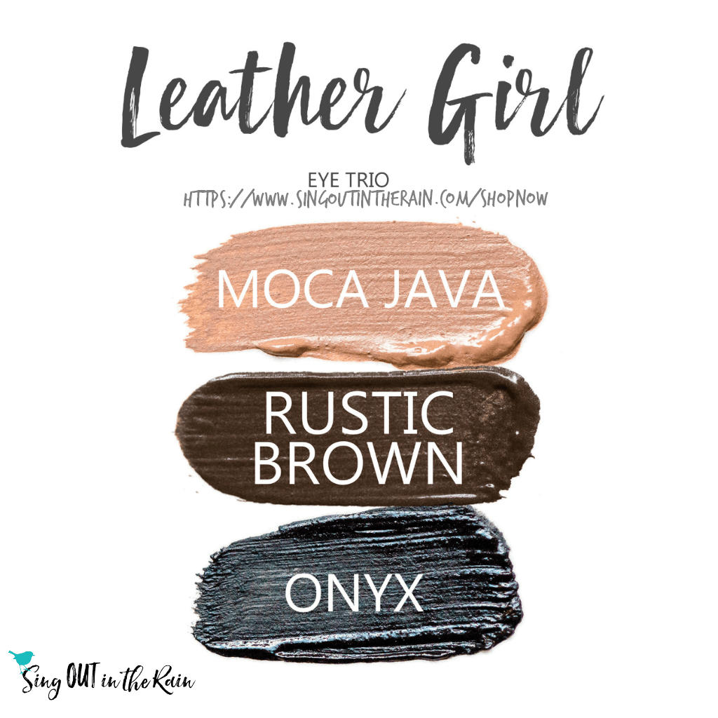 Leather Girl ShadowSense Eye Trio, moca java shadowsense, rustic brown shadowsense, onyx shadowsense