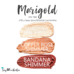 Marigold ShadowSense eye trio, sandstone pearl shimmer shadowsense, copper rose shimmer shadowsense, bandana shimmer shadowsense