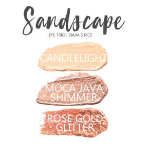 Sandscape Shadowsense eye trio, candlelight shadowsense, moca java shimmer shadowsense, rose gold glitter shadowsense