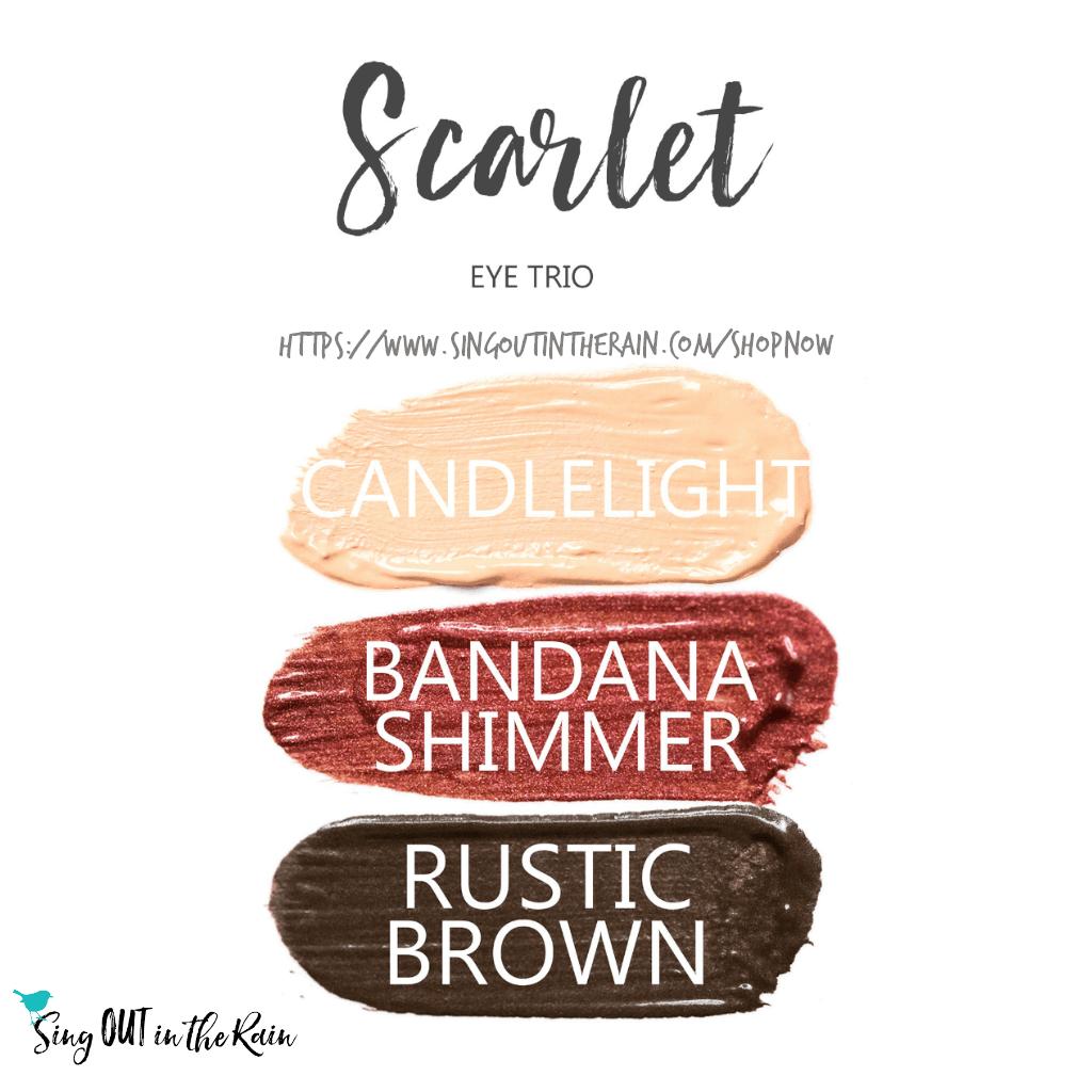 Scarlet Shadowsense Eye Trio, Candlelight shadowsense, bandana shimmer shadowsense, rustic brown shadowsense