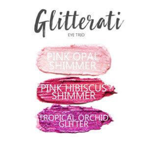 Glitterati ShadowSense Eye Trio, Pink Opal Shimmer ShadowSense, Pink Hibiscus Shimmer Shadowsense, Tropical Orchid Glitter ShadowSense