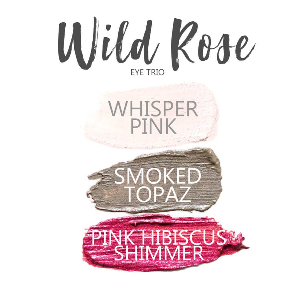 Wild Rose ShadowSense eye trio, whisper pink shadowsense, smoked topaz shadowsense, pink hibiscus shimmer shadowsense