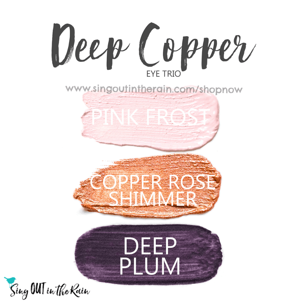 Deep Copper Eye Trio, Pink Frost ShadowSense, Copper Rose Shimmer ShadowSense, Deep Plum ShadowSense