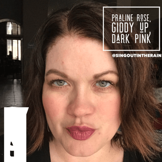 praline rose lipsense, lipsense mixology, praline rose combinations, giddy up lipsense, dark pink lipsense