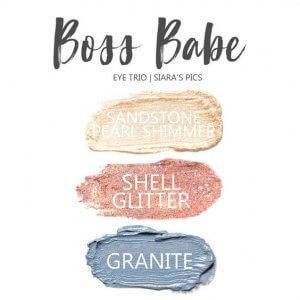 Boss Babe Shadowsense trio, sandstone pearl shimmer, shell glitter, granite