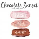 Chocolate Sunset Shadowsense Trio, pink opal shimmer, Shell Glitter, garnet