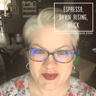 Espresso LipSense, Dawn Rising LipSense, Brick LipSense, LipSense Mixology