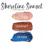 shoreline sunset shadowsense eye trio, shell glitter shadowsense, garnet shadowsense, denim shadowsense