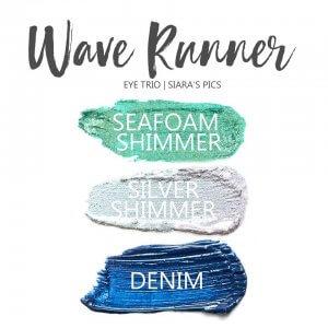 Wave Runner Shadowsense eye trio, seafoam shimmer shadowsense, denim shadowsense, silver shimmer shadowsense