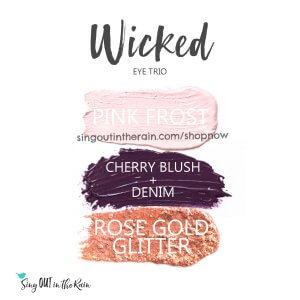 Wicked Shadowsense Eye Trio, pink frost shadowsense, cherry blush, cherry blushsense, Denim shadowsense, rose gold glitter shadowsense