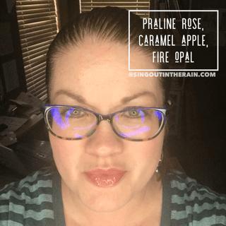 praline rose lipsense, lipsense mixology, caramel apple lipsense, fire opal lipsense