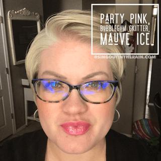 Party Pink LipSense, Bubblegum Glitter LipSense, Mauve Ice