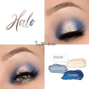 halo eye quad, snow shadowsense, granite shadowsense, denim shadowsense, sandstone pearl shimmer shadowsense