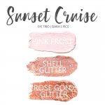 Sunset Cruise Eye Trio, Shell Glitter shadowsense, pink frost shadowsense, Rose Gold Glitter Shadowsense