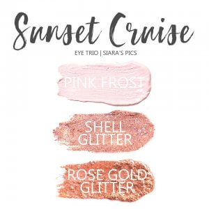 Sunset Cruise Eye Trio, Shell Glitter shadowsense, pink frost shadowsense, Rose Gold Glitter Shadowsense