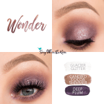 Wonder Eye Trio, Glacier Glitter ShadowSense, Candied Cocoa Shimmer ShadowSEnse, Deep Plum ShadowSense