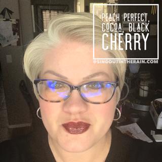 Peach Perfect LipSense, Cocoa LipSense, Black Cherry LipSense