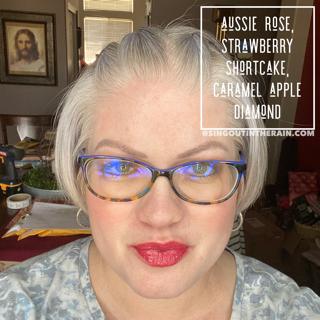 Aussie Rose LipSense, Strawberry Shortcake LipSense, Caramel Apple LipSense layered together to create a beautiful lip color.