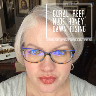 Coral Reef LipSense, Nude Honey LipSense, Dawn Rising LipSense