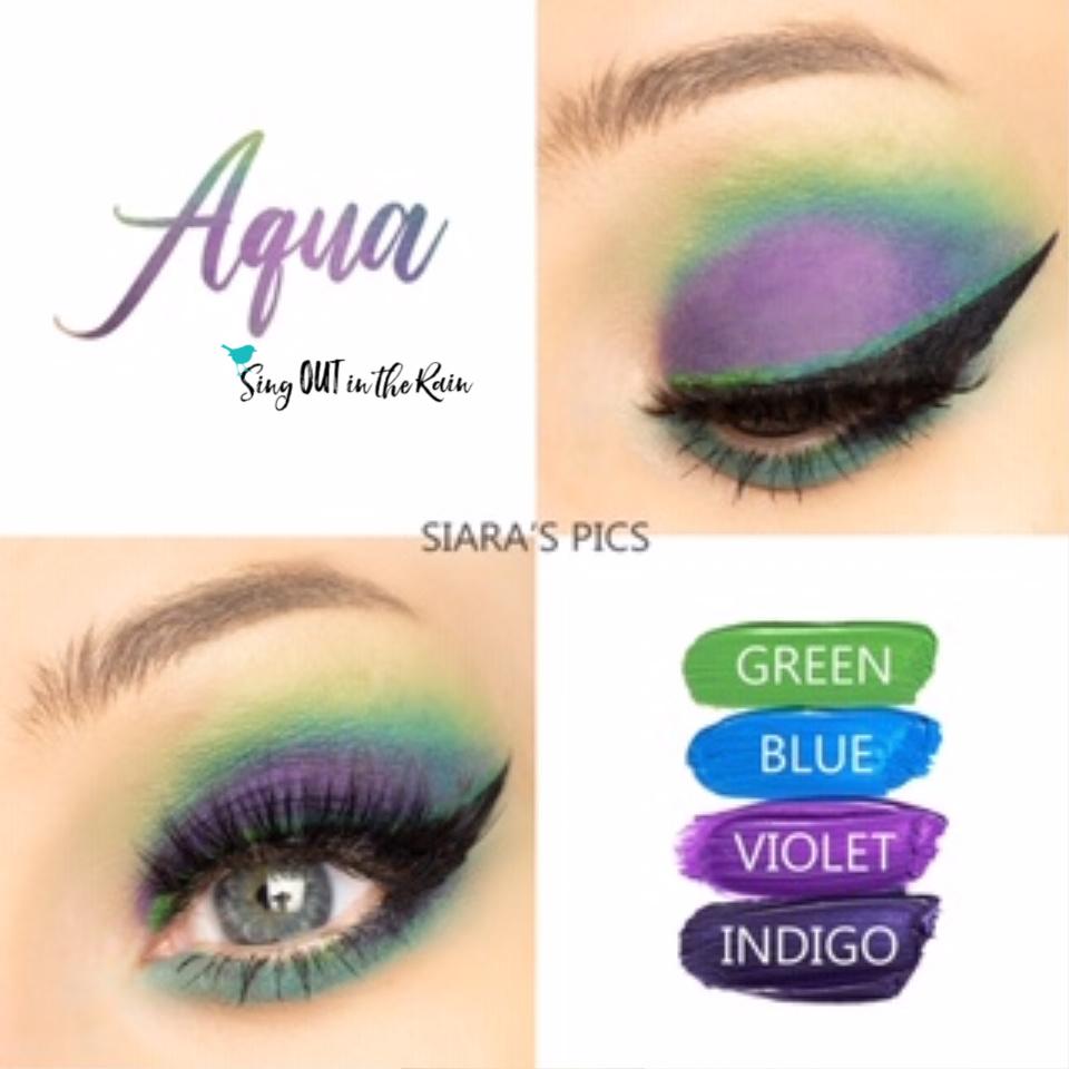 Aqua Eye Look, Green ShadowSense, Blue ShadowSense, Violet ShadowSense, Indigo ShadowSense