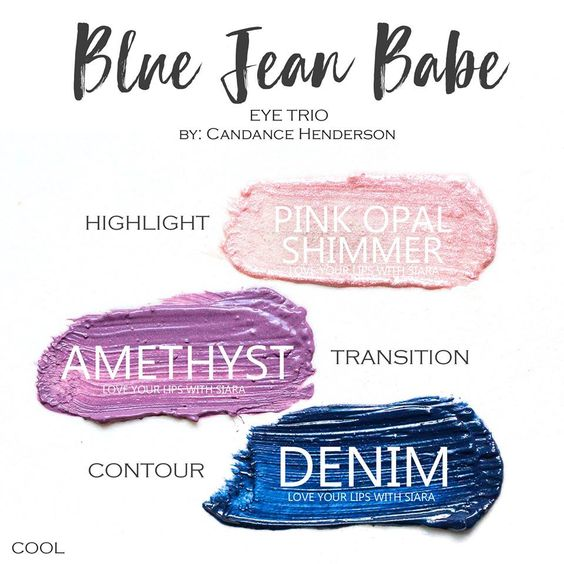 Blue Jean Babe Eye Trio, Pink Opal Shimmer ShadowSense, Amethyst ShadowSense, Denim ShadowSense