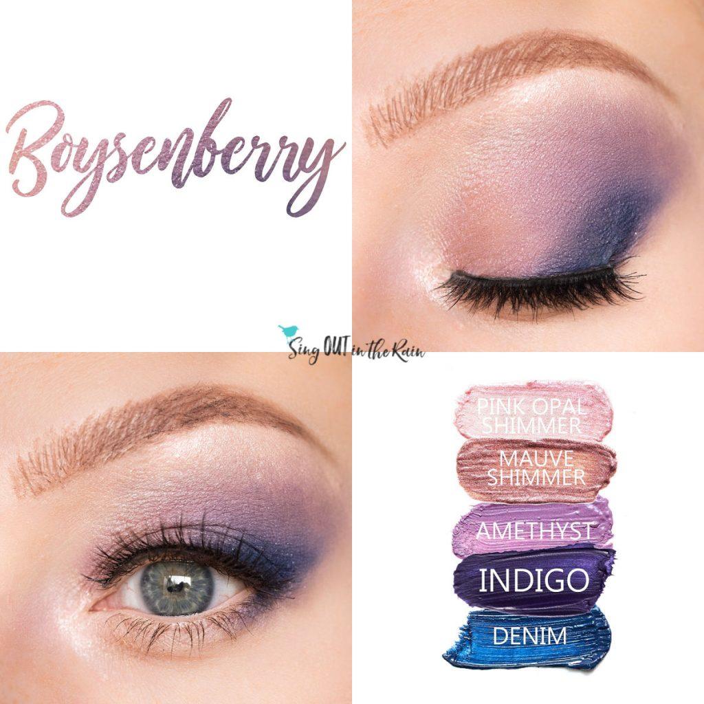 Boysenberry Eye Look, Pink Opal Shimmer ShadowSense, Mauve Shimmer ShadowSense, Amethyst ShadowSense, Indigo ShadowSense, Denim ShadowSense
