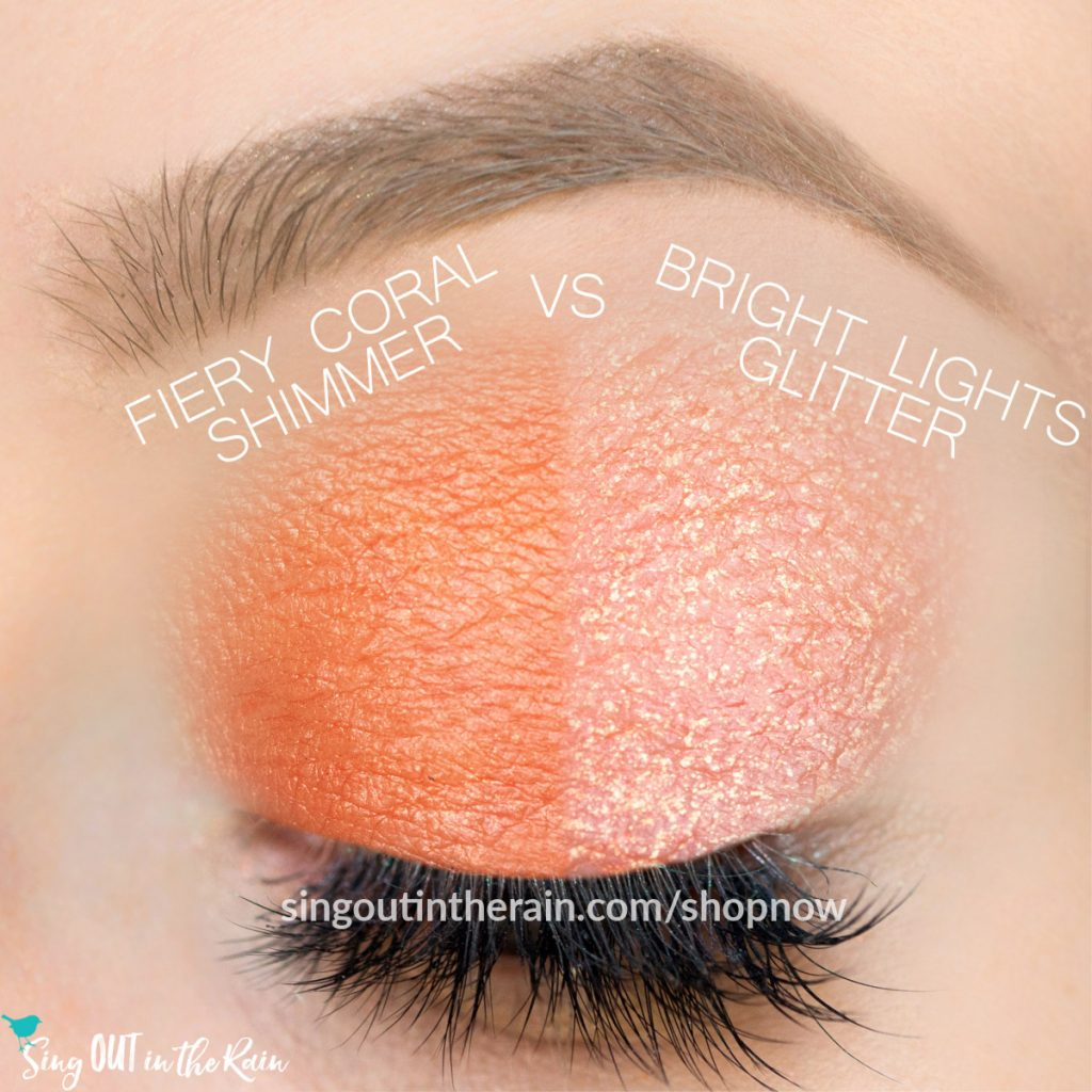 Fiery Coral Shimmer, Bright Lights Glitter ShadowSense