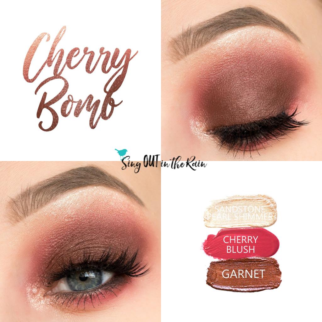 Cherry Bomb Eye Trio, Sandstone Pearl Shimmer ShadowSense, Cherry Blushsense, Garnet ShadowSense, Cherry Bomb Eye Trio