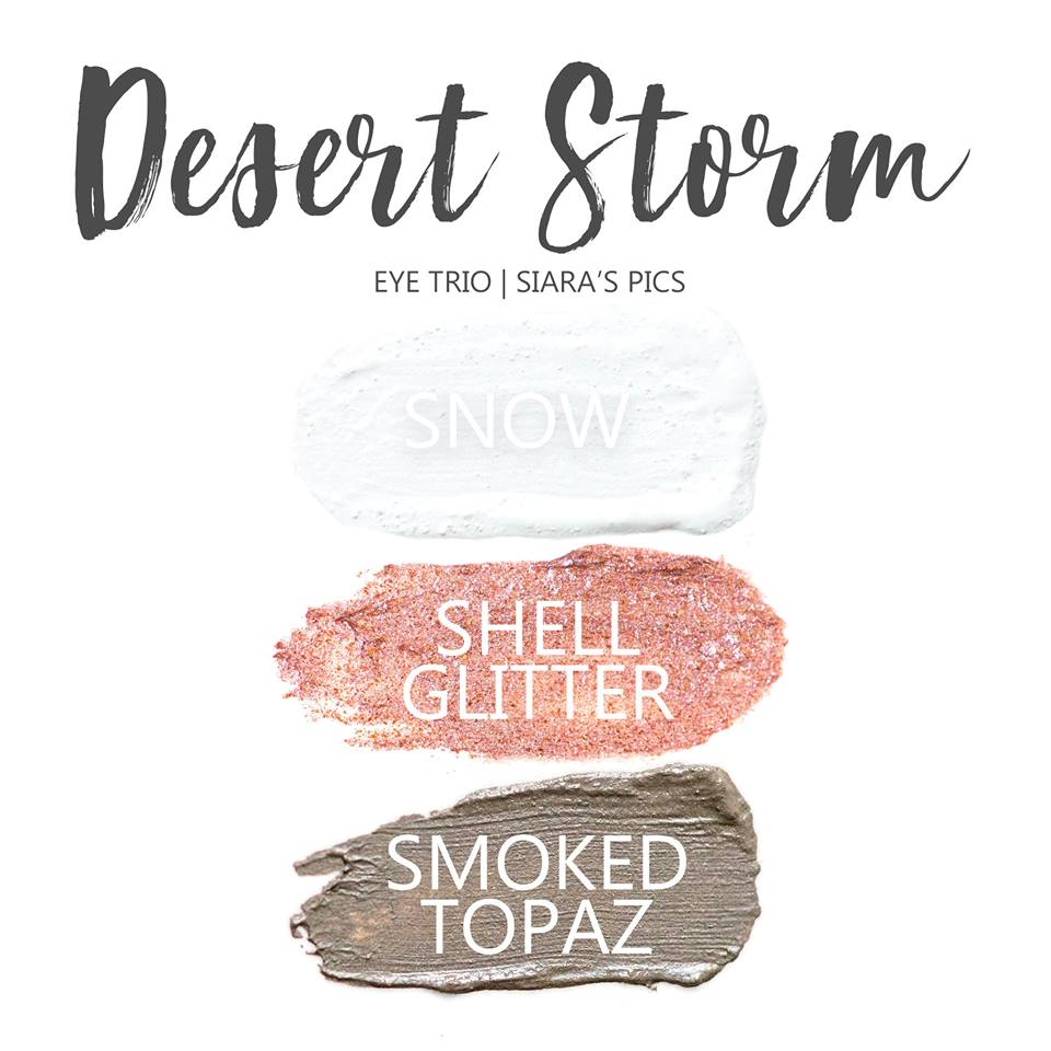 Desert Storm Eye Trio, Snow ShadowSense, Shell Glitter ShadowSense, Smoked Topaz ShadowSense