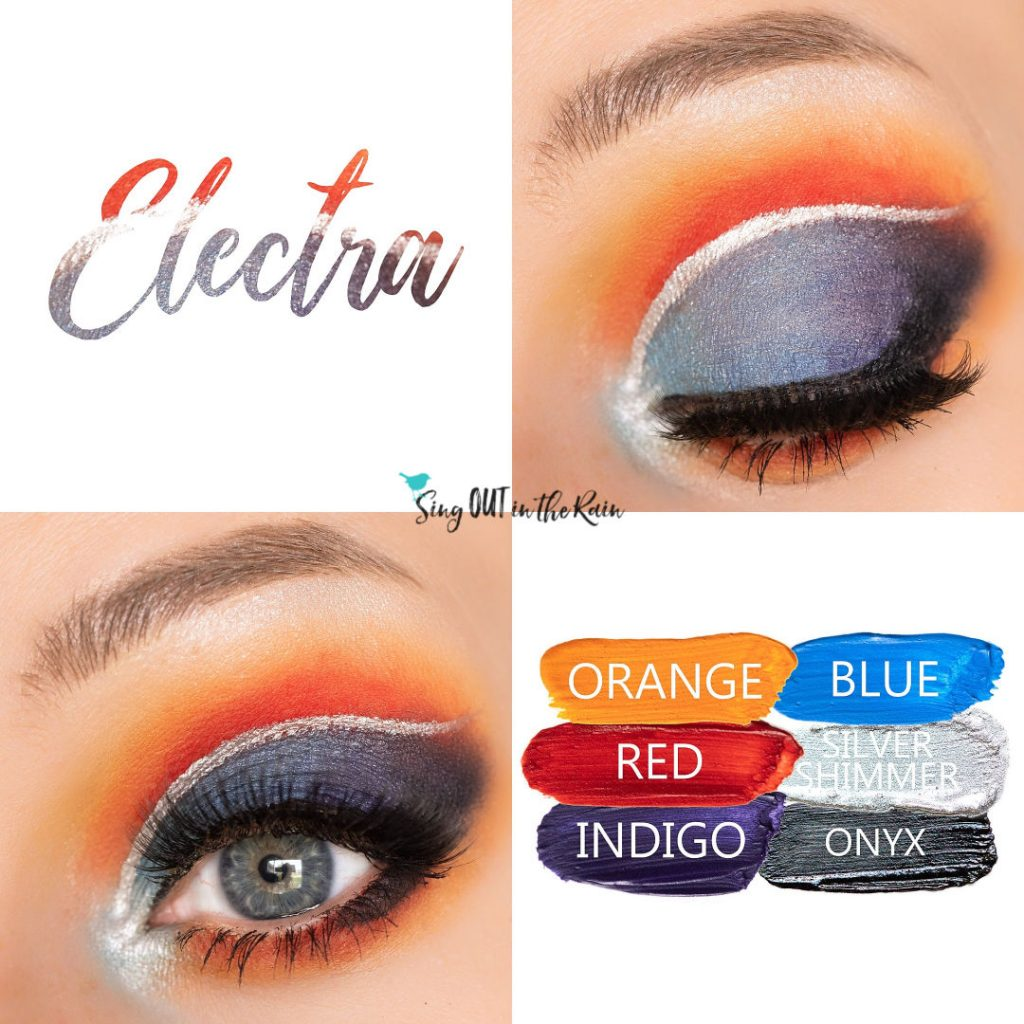 Electra Eye Look, Orange ShadowSense, Blue ShadowSense, Red ShadowSense, Silver Shimmer ShadowSense, Indigo ShadowSense, Onyx ShadowSense