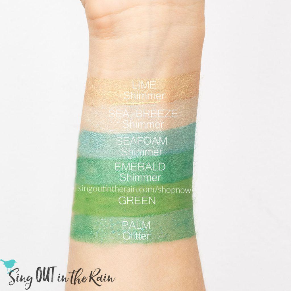 Lime Shimmer ShadowSense, Sea Breeze Shimmer ShadowSense, Seafoam Shimmer ShadowSense, Emerald Shimmer ShadowSense, Green ShadowSense, Palm Glitter ShadowSense