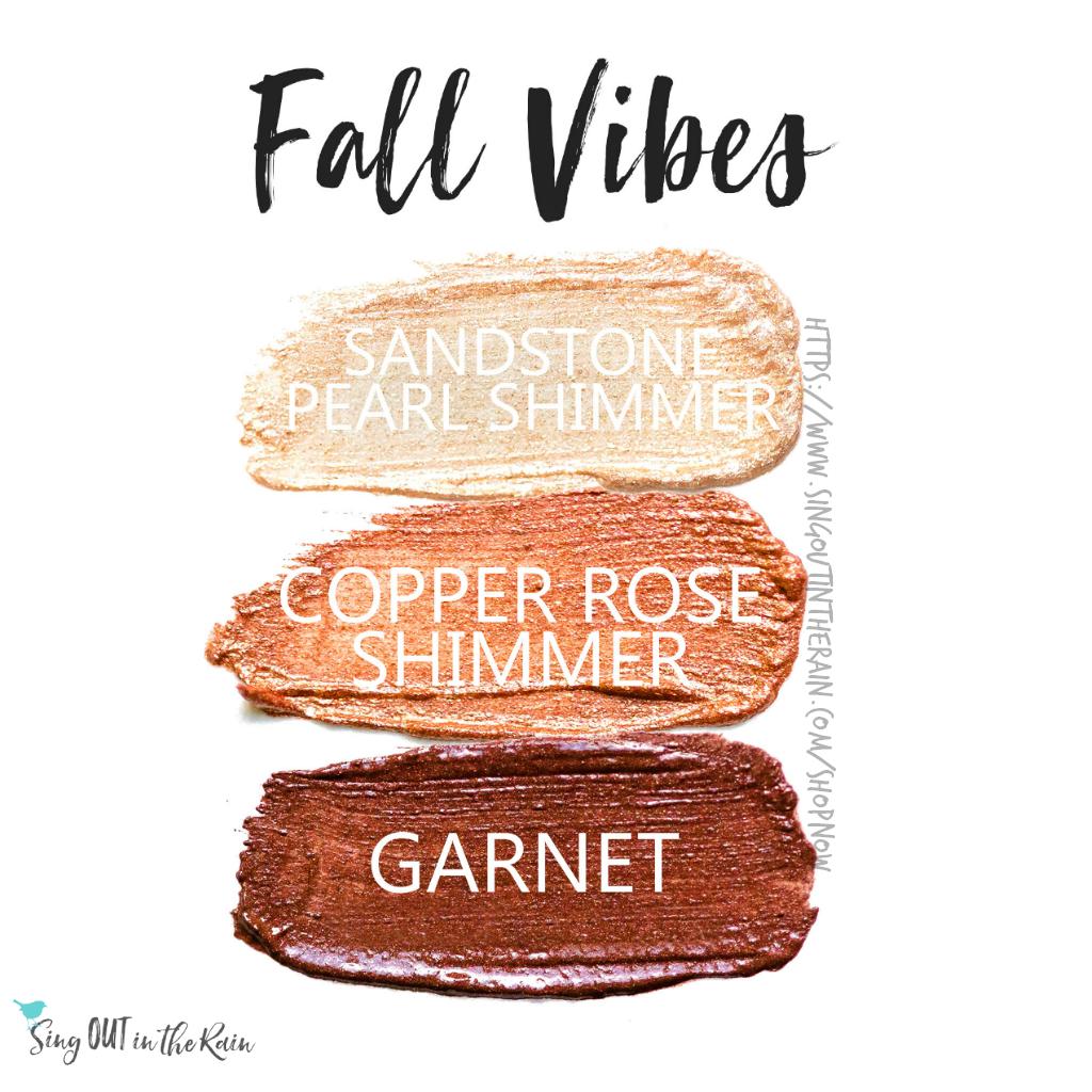 Sandstone Pearl Shimmer ShadowSense, Copper Rose Shimmer ShadowSense, Garnet ShadowSense
