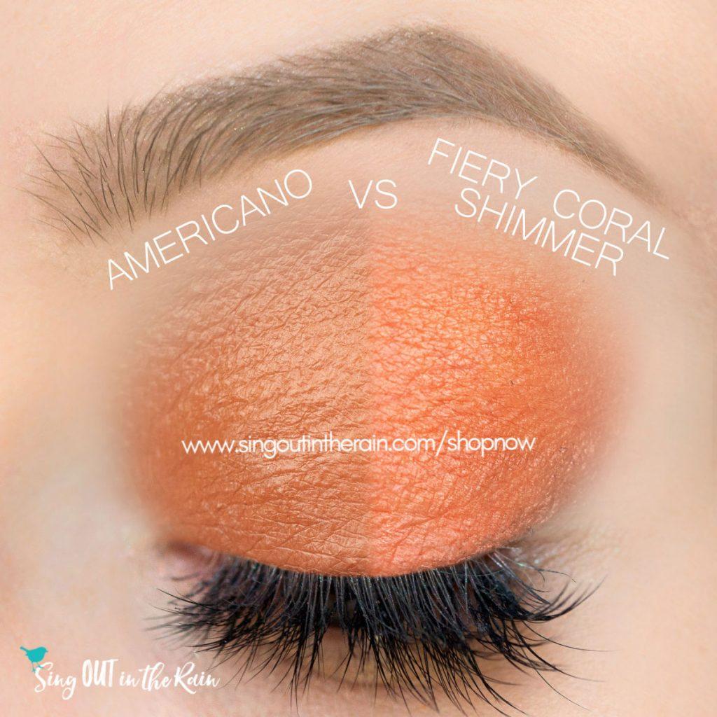 Americano vs. Fiery Coral Shimmer ShadowSense
