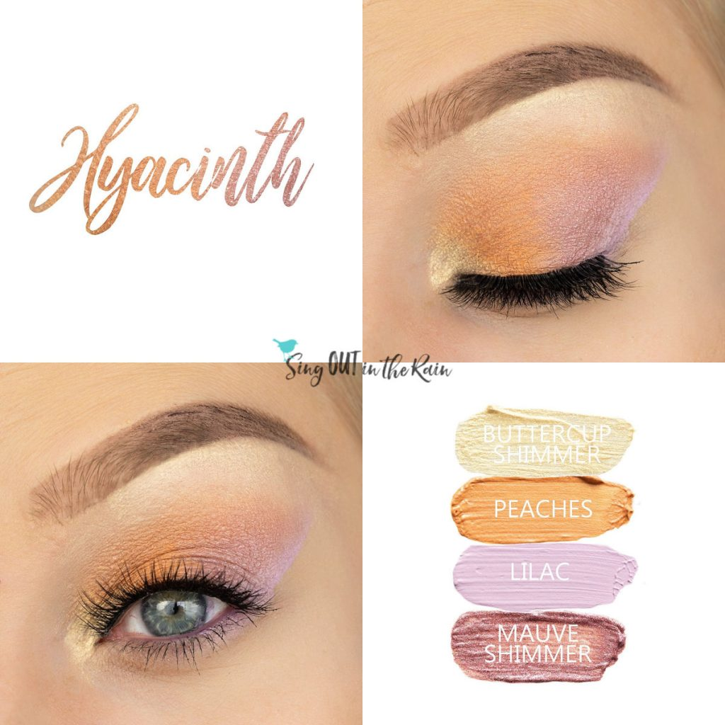 Hyacinth Eye Look, Peaches ShadowSense, Mauve Shimmer ShadowSense, Buttercup Shimmer ShadowSense, Lilac ShadowSense