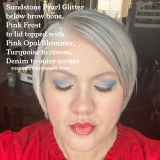 Sandstone Pearl Glitter ShadowSense, Pink Frost Shadowsense, Pink Opal SHimmer ShadowSense, Turquoise ShadowSense, Denim ShadowSense