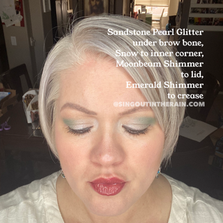 Sandstone Pearl Glitter ShadowSense, Snow ShadowSense, Moonbeam Shimmer ShadowSense, Emerald Shimmer ShadowSense