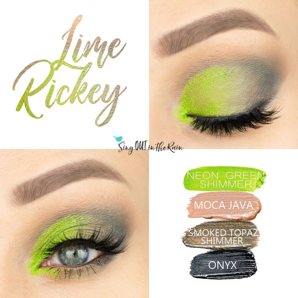 Lime Rickey Eye Look, Neon Green Shimmer ShadowSense, Moca Java ShadowSense, Smoked Topaz Shimmer ShadowSense, Onyx ShadowSense