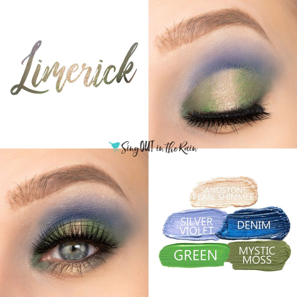 Limerick Eye Look, Sandstone Pearl Shimmer ShadowSense, Silver Rose ShadowSense, Denim ShadowSense, Green ShadowSense, Mystic Moss ShadowSense