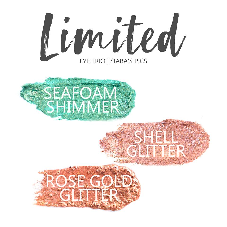Limited Eye Trio, Seafoam Shimmer ShadowSense, Shell Glitter ShadowSense, Rose Gold Glitter ShadowSense