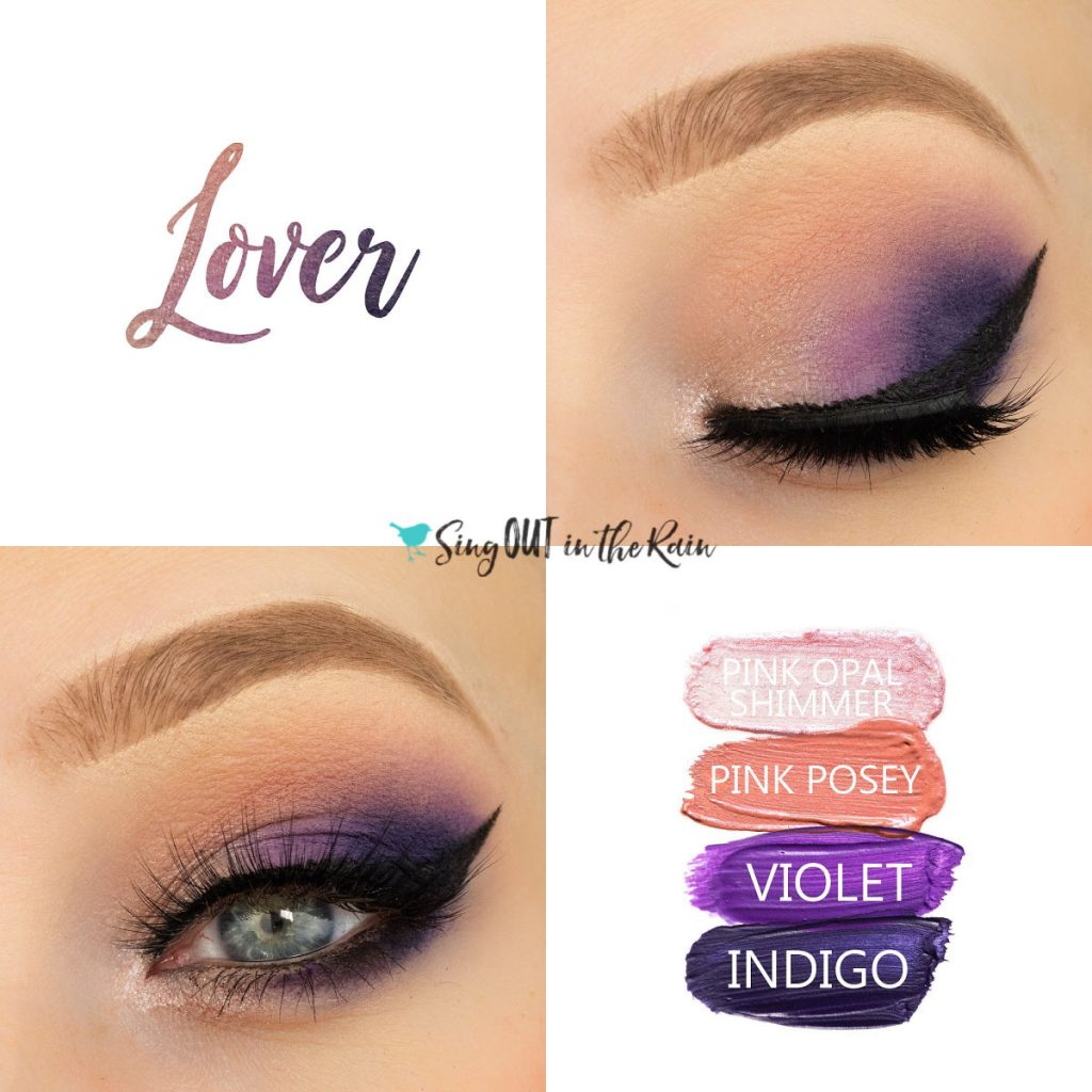 Lover Eye Look, Pink Opal Shimmer ShadowSense, Pink Posey ShadowSense, Violet ShadowSense, Indigo ShadowSense