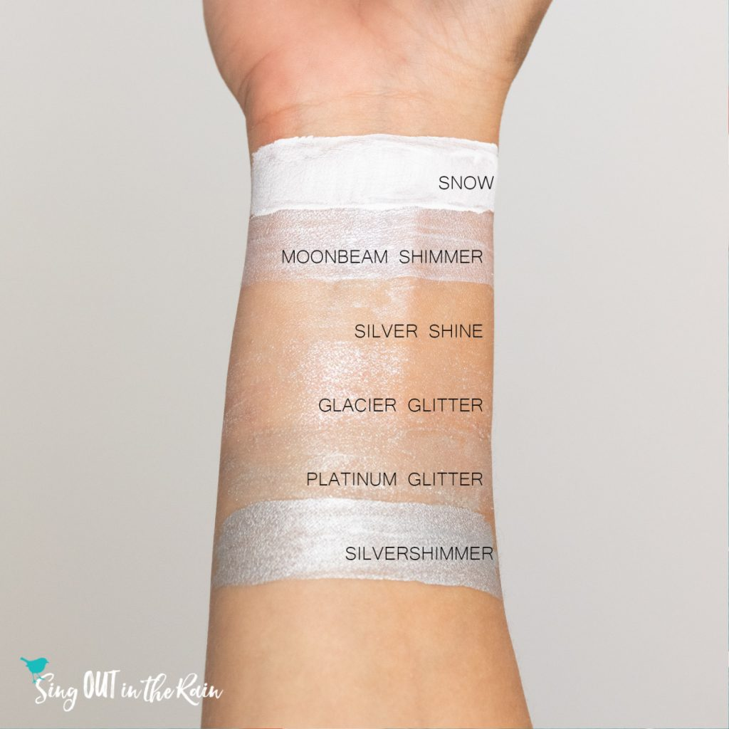 Compare ShadowSense colors Snow, Moonbeam Shimmer, Silver Shine, Glacier Glitter, Platinum Glitter & Silver Shimmer
