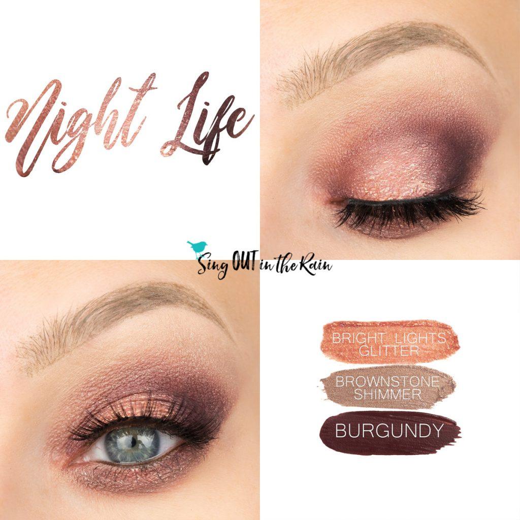 Night Life Eye Trio, Bright Lights Glitter ShadowSense, Brownstone Shimmer ShadowSense, Burgandy ShadowSense