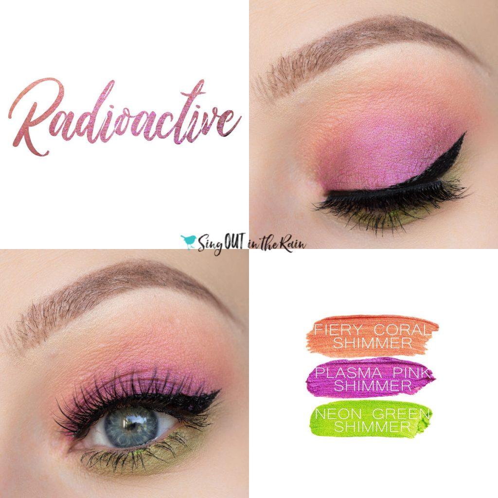 Radioactive Eye Trio, Fiery Coral Shimmer ShadowSense, Plasma Pink ShadowSense, Neon Green Shimmer ShadowSense