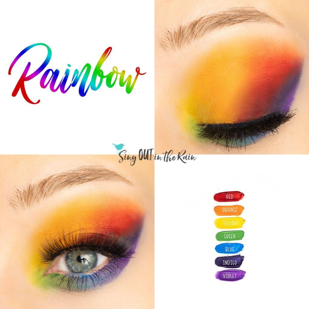 Rainbow Eye Look, Red ShadowSense, Orange ShadowSense, Yellow ShadowSense, Green ShadowSense, Blue Shadowsense, Indigo ShadowSense, Violet ShadowSense